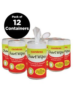 Chart Cleaning Wipes, 70 Wipes Per Container, Pack of 12 Containers
