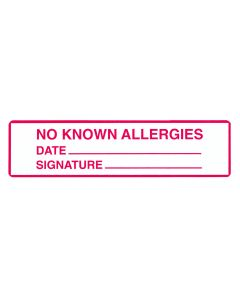 No Known Allergies Alert/Instruction Label, 5 3/8'' x 1 3/8'' (Roll of 200)