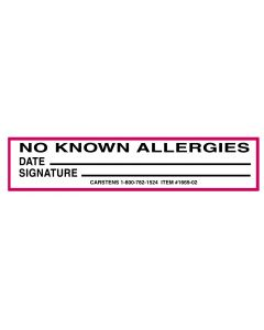 No Known Allergies Alert/Instruction Card,  5 1/4'' x 1'', (100 pack)