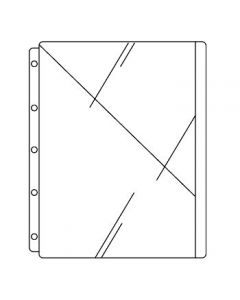 Clear Record Protector for Side-Opening Ringbinders, 1 Diagonal Cut Pocket on Front Side Only